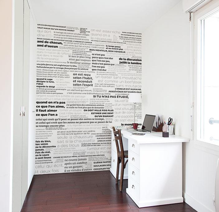 papier peint original d coration murale en dition limit e papier peint proverbes en noir et. Black Bedroom Furniture Sets. Home Design Ideas