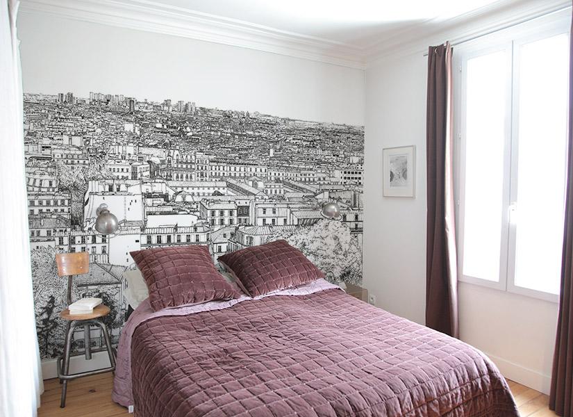 papier peint original d coration murale en dition limit e ohmywall papier peint montmartre. Black Bedroom Furniture Sets. Home Design Ideas