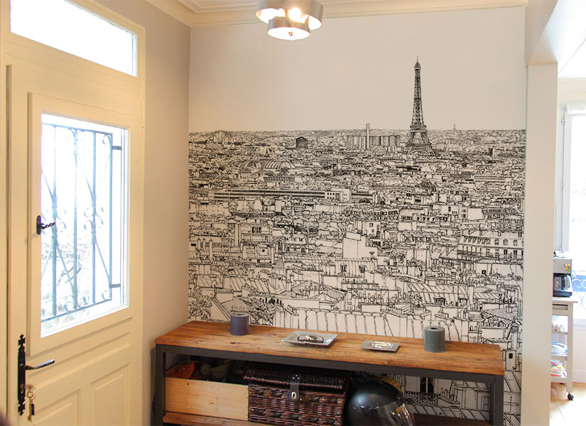 papier peint original d coration murale en dition limit e dessin de paris. Black Bedroom Furniture Sets. Home Design Ideas