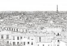 Papier peint Vue de Paris Montparnasse Tour Eiffel Big Panoramique