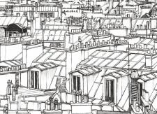 Papier peint Vue de Paris Tour Eiffel Deco
