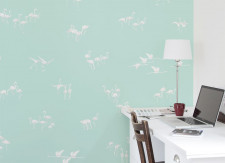 Papier peint Flamants blancs fond Vert clair Medium