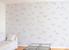 Papier peint Flamants Roses fond Gris clair Panoramique