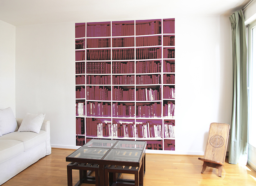 D coration biblioth que murale salon for Decoration bibliotheque murale salon