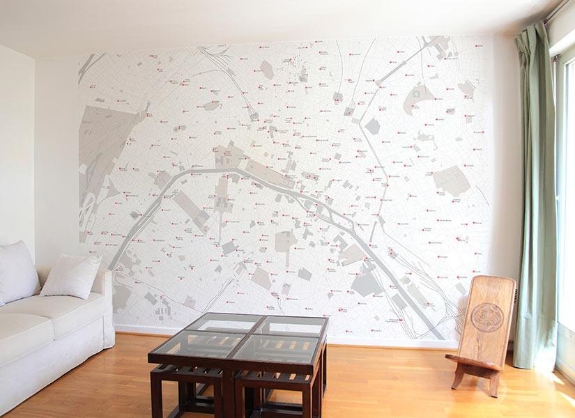 papier peint original d cor mural en dition limit e papier peint carte de paris panoramique. Black Bedroom Furniture Sets. Home Design Ideas