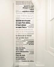 Lé unique de papier peint PROVERBES en Noir et blanc