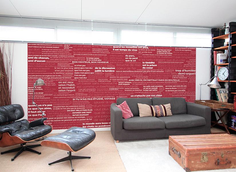 papier peint original d cor mural en dition limit e papier peint proverbes fond color. Black Bedroom Furniture Sets. Home Design Ideas