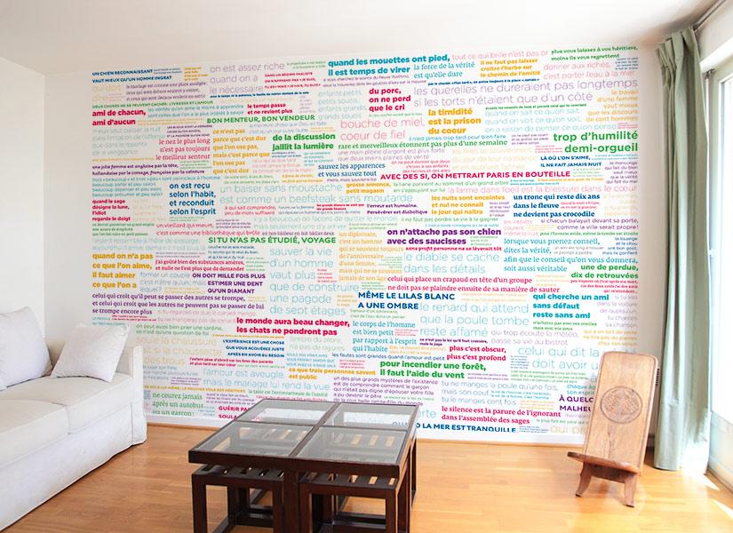 papier peint original d cor mural en dition limit e papier peint proverbes en couleur. Black Bedroom Furniture Sets. Home Design Ideas