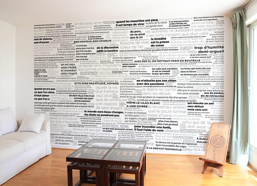 ... Papier Peint PROVERBES En Noir Et Blanc Panoramique ...