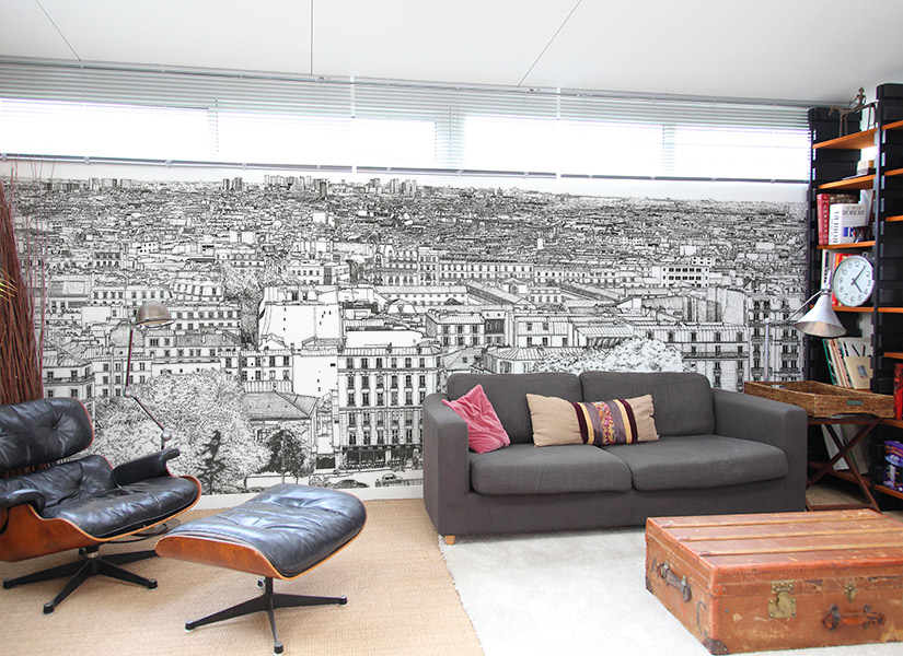 papier peint original d cor mural en dition limit e ohmywall papier peint montmartre big. Black Bedroom Furniture Sets. Home Design Ideas