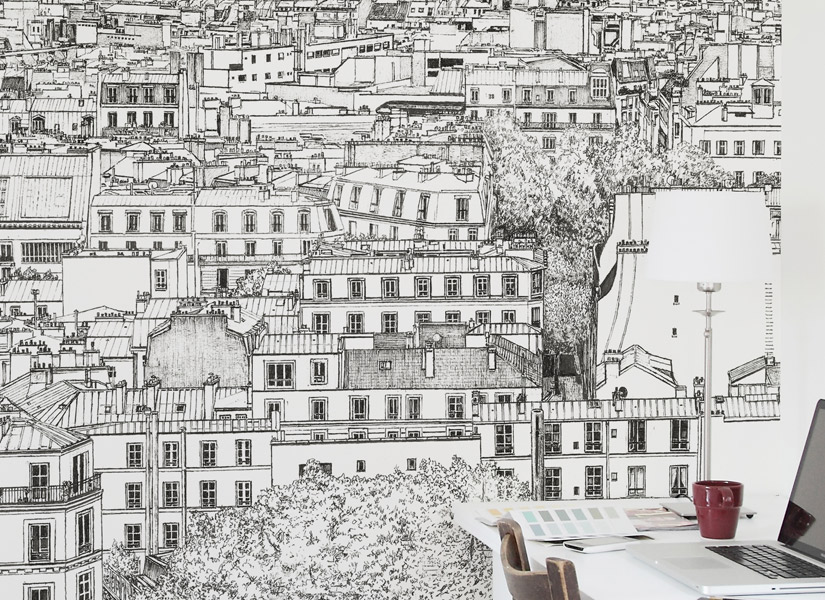 papier peint original d cor mural en dition limit e ohmywall papier peint montmartre gauche. Black Bedroom Furniture Sets. Home Design Ideas