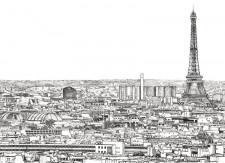 Papier peint Vue de Paris Grand Palais Tour Eiffel Medium