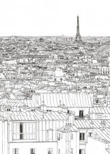 Papier peint Vue de Paris Grand Palais Tour Eiffel Medium