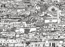 Papier peint Vue de Paris Louvre Opera Montparnasse Medium
