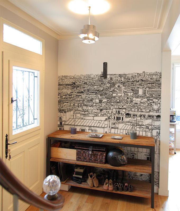 papier peint original d cor mural en dition limit e oh my wall papier peint vue de paris. Black Bedroom Furniture Sets. Home Design Ideas