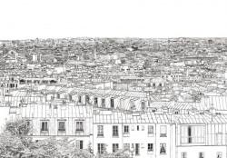 Papier peint Vue de Paris Opéra Grand Palais Panoramique