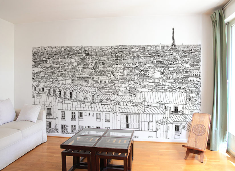 papier peint original d cor mural en dition limit e oh my wall papier peint vue de paris. Black Bedroom Furniture Sets. Home Design Ideas