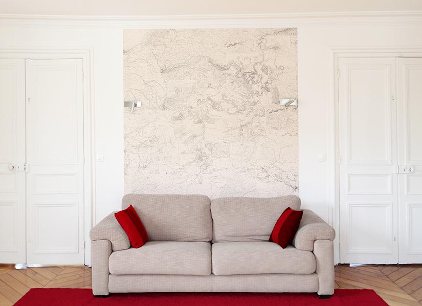 papier peint original d cor mural en dition limit e papier peint medium carte territoire. Black Bedroom Furniture Sets. Home Design Ideas