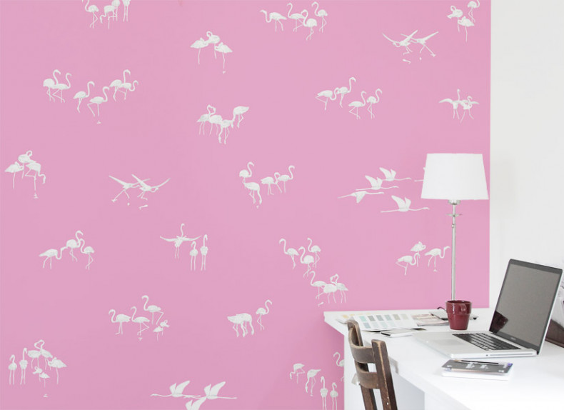 Papier peint Flamants blancs fond Rose Medium
