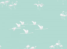 Papier peint Flamants blancs fond Vert clair Panoramique