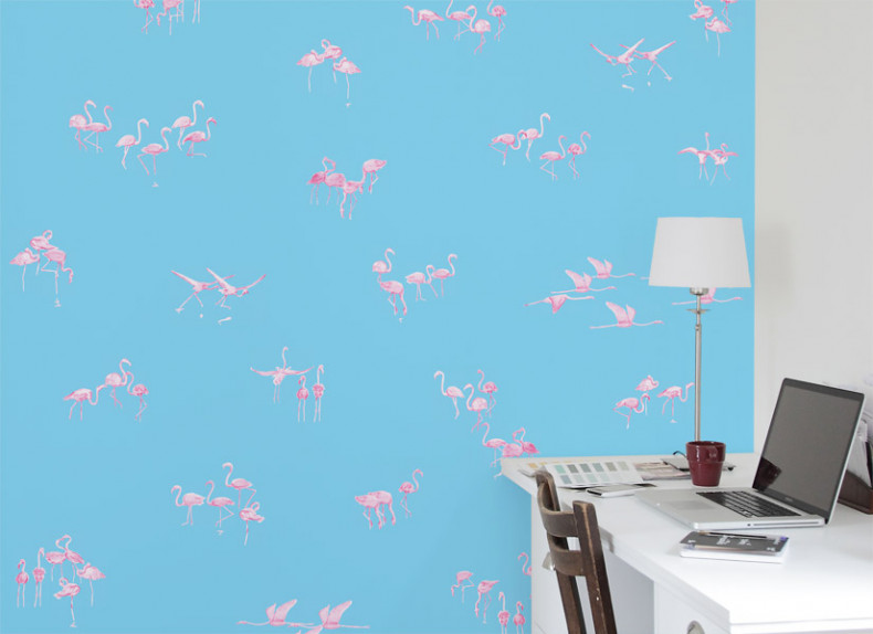 Papier peint Flamants Roses fond Bleu Medium