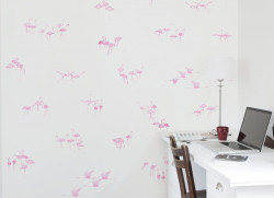 Papier peint Flamants Roses fond Gris clair Medium