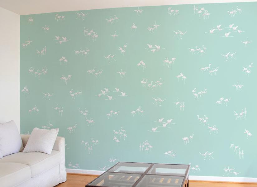 Ohmywall Papier Peint Flamants Blancs Fond Vert Panoramique