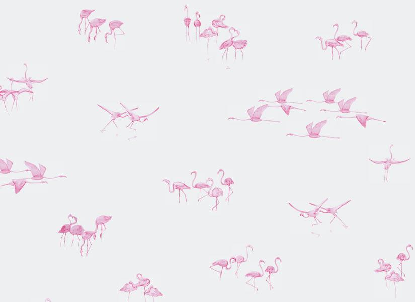 papier peint original d cor mural en dition limit e ohmywall papier peint flamants roses. Black Bedroom Furniture Sets. Home Design Ideas