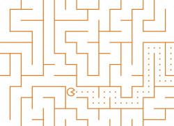 Papier peint LABYRINTHE Pacman orange Panoramique
