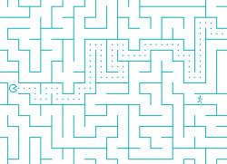 Papier peint LABYRINTHE Pacman Turquoise Panoramique