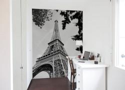 Papier peint Effet Eiffel Noir et Blanc