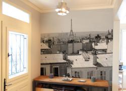 Papier peint Paris en Août Noir et blanc
