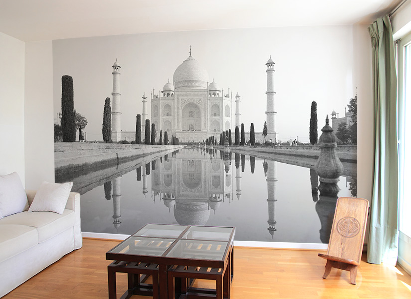 papier peint original d cor mural en dition limit e papier peint photo taj mahal noir et blanc. Black Bedroom Furniture Sets. Home Design Ideas