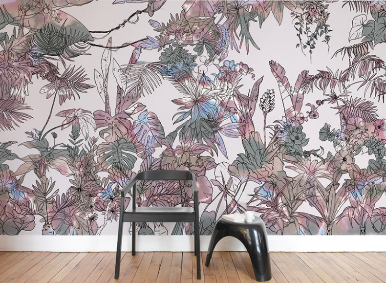 papier peint original d cor mural en dition limit e ohmywall papier peint jungle tropical. Black Bedroom Furniture Sets. Home Design Ideas