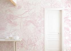 Papier peint Jungle Tropical Rose Panoramique