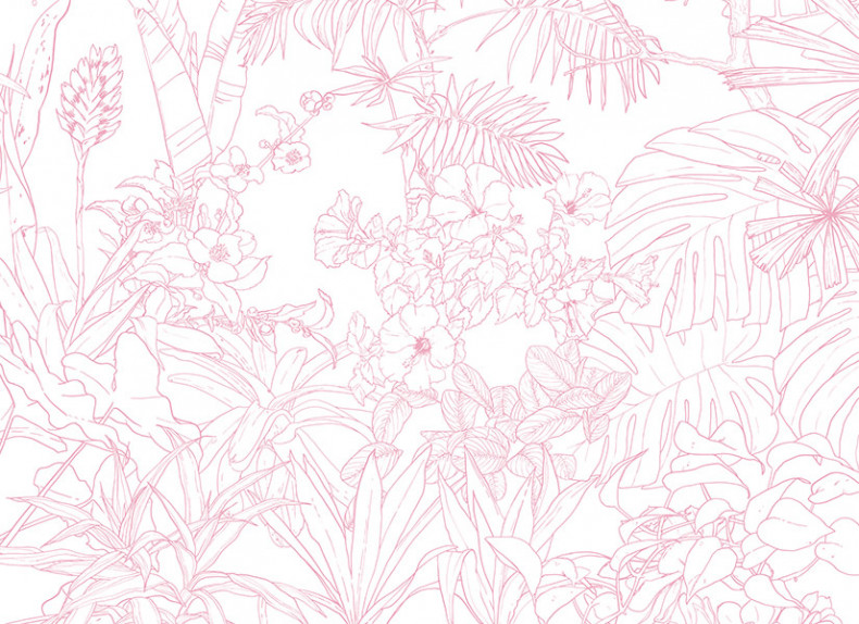 Papier peint Jungle Tropical Rose Big Panoramique