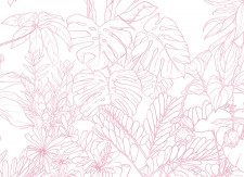 Papier peint Jungle Tropical Rose Panoramique