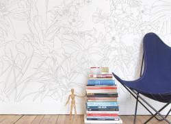 Papier peint Jungle Tropical Trait Gris Medium