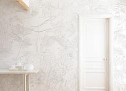 Papier peint Jungle Tropical Trait Gris Panoramique