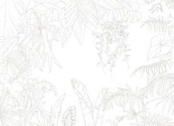 Papier peint Jungle Tropical Trait Gris Big Panoramique