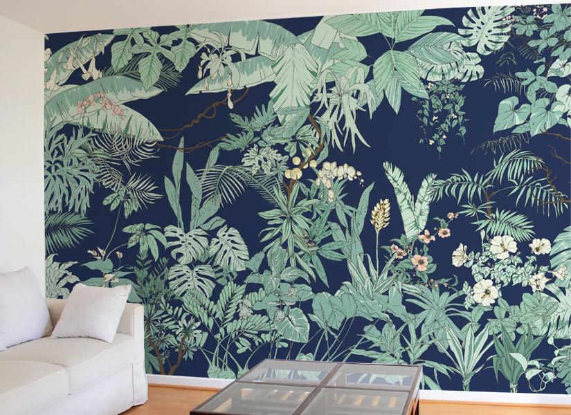papier peint original d cor mural en dition limit e ohmywall papier peint jungle tropical. Black Bedroom Furniture Sets. Home Design Ideas