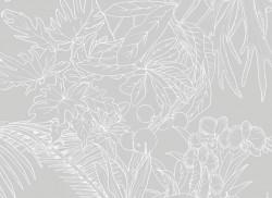 Papier peint Jungle Tropical Fond Gris Big Panoramique