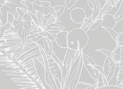 Papier peint Jungle Tropical Fond Gris Déco Lé Unique