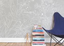 Papier peint Jungle Tropical Fond Gris Medium