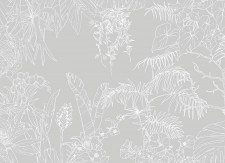 Papier peint Jungle Tropical Fond Gris Medium