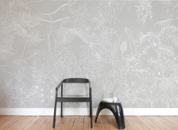 Papier peint Jungle Tropical Fond Gris Panoramique