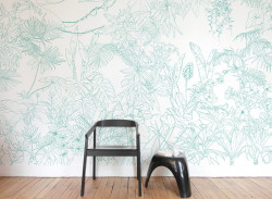 Papier peint Jungle Tropical Vert Turquoise Panoramique